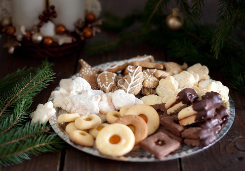 Shortbread Christmas cookies stock photo