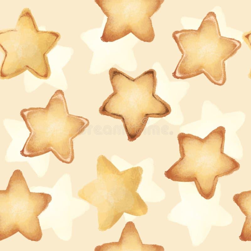 Shortbread ciastka w postaci gwiazd Słodcy ciasta bezszwowy wzoru smakowity royalty ilustracja