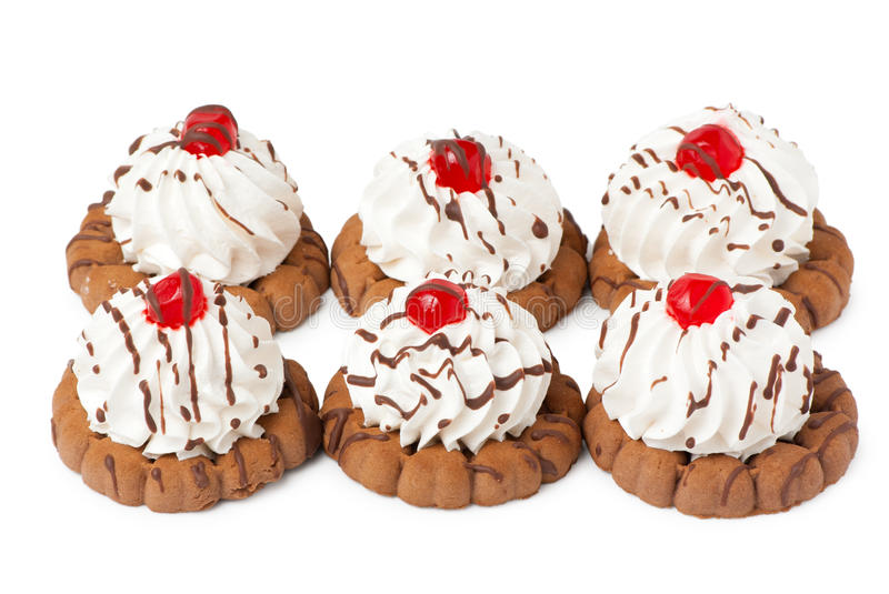 Shortbread Cookies With Cream And Berry Jelly Royalty Free Stock Photo