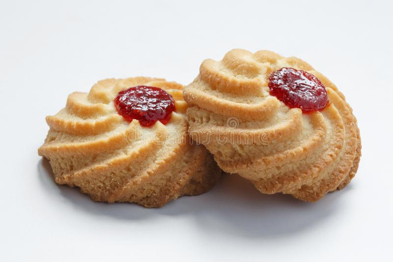 Shortbread cookies with jam. stock photography