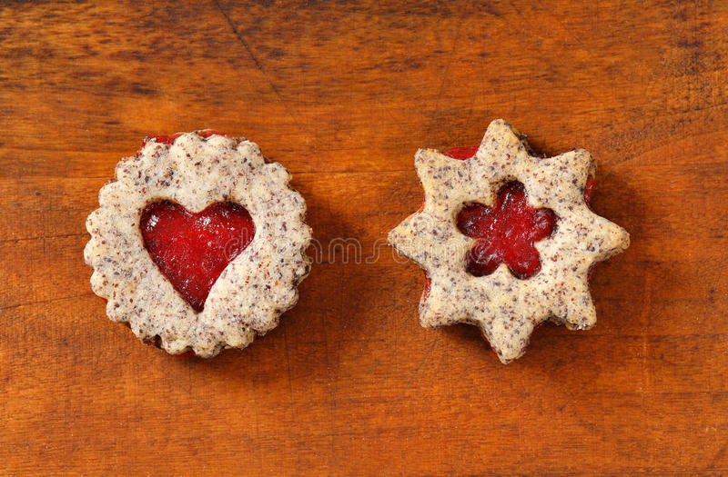 Shortbread cookies with jam filing stock photo