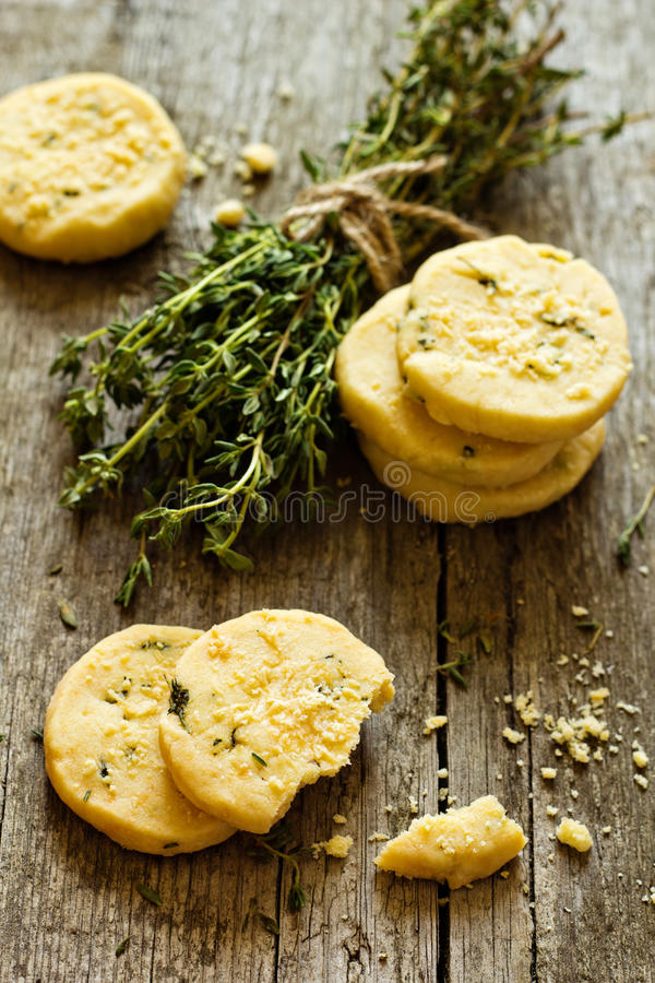 Shortbread cookies with thyme and parmesan royalty free stock photo