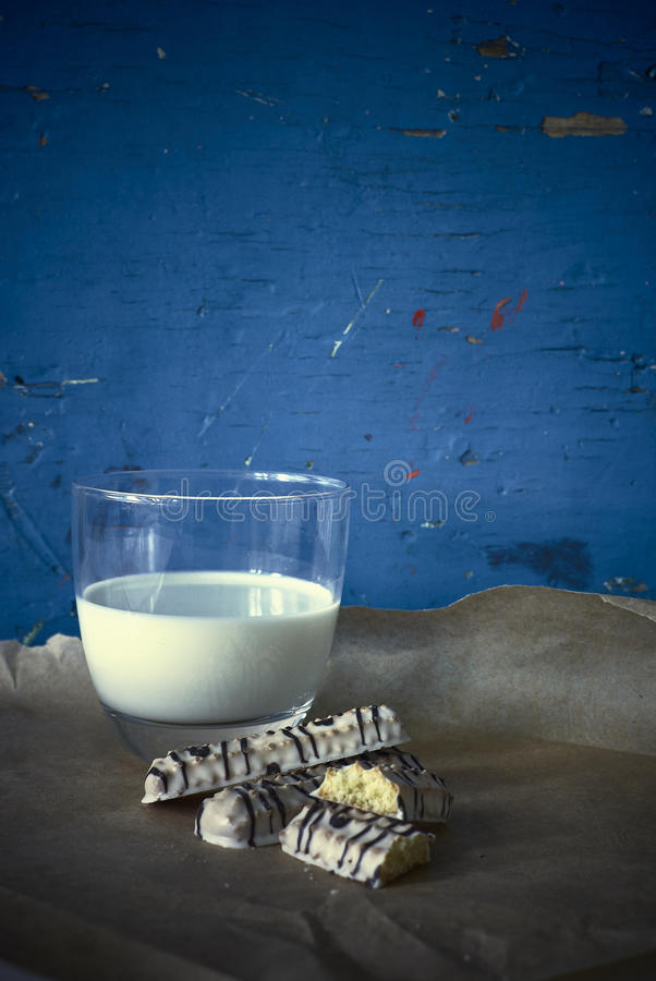 Shortbread cookies in white chocolate with milk royalty free stock photography