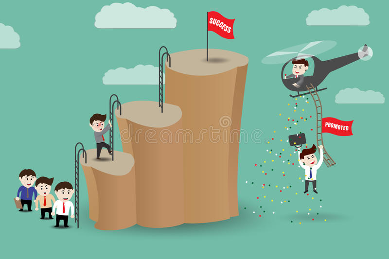 Shortcut - employees get promoted to success by helicopter. Template royalty free illustration