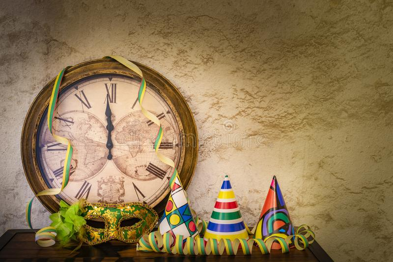 Shortly before twelve at the turn of the year. With party decoration stock photography