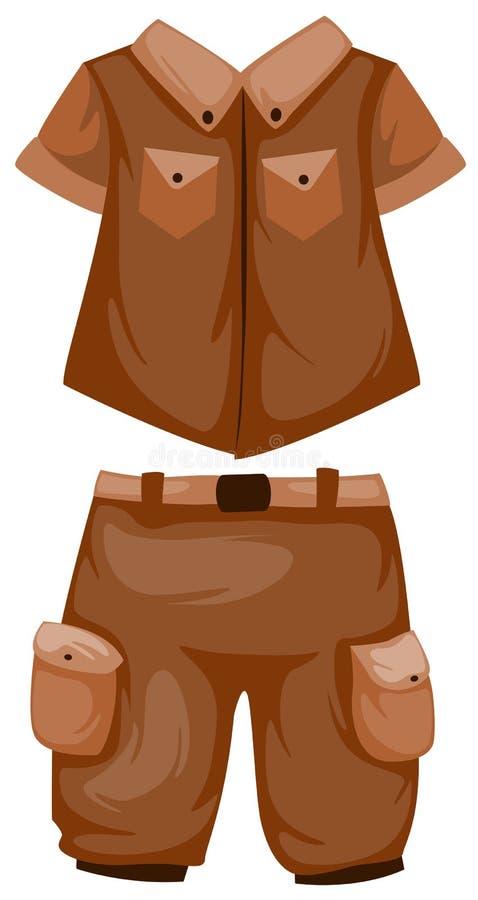 Shorts de acampamento com camisa ilustração do vetor