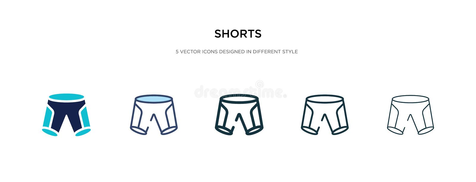 Shorts icon in different style vector illustration. two colored and black shorts vector icons designed in filled, outline, line. And stroke style can be used stock illustration