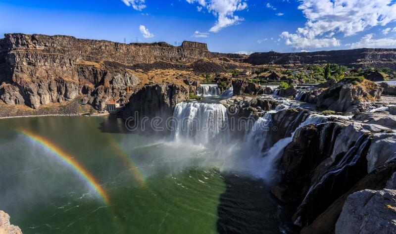 Shoshone Falls Double Rainbow in Twin Falls, Idaho. Shoshone Falls Double Rainbow in Twin Falls Idaho royalty free stock photography