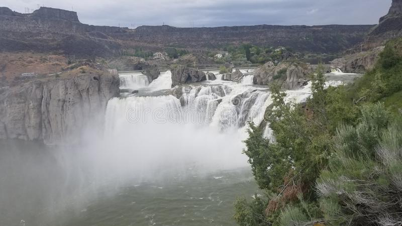 Shoshone Falls, Idaho Raging Spring 2019. Often referred to as the Niagara of the West, Shoshone Falls is a must see attraction in Twin Falls, Idaho.  At 212 stock image