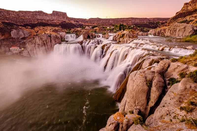 Shoshone Falls at sunset in Twin Falls, Idaho stock images
