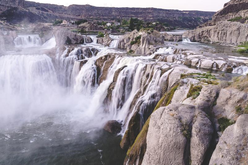 Shoshone Falls in Twin Falls Idaho at sunset in the summer royalty free stock image