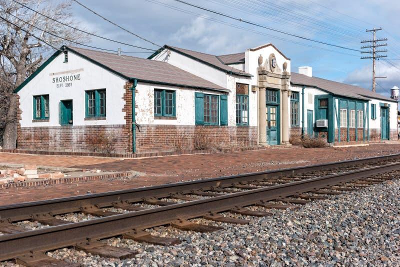 Shoshone velho, estação de estrada de ferro de Idaho imagem de stock