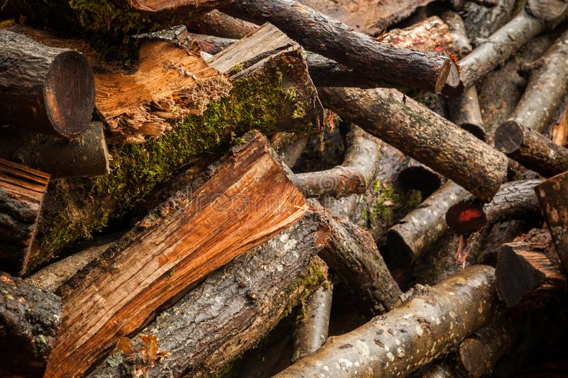 An abstract image of cut and stacked firewood. Shot of abstract image of cut and stacked firewood royalty free stock photography
