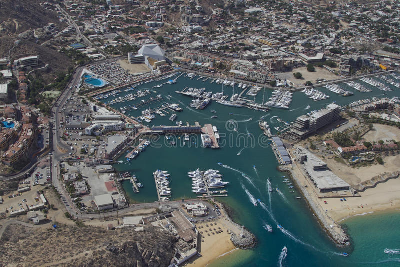Shot from the air in los cabos. Los cabos in baja califonia sur, mexico, shot from the air in a light aircraft stock photo