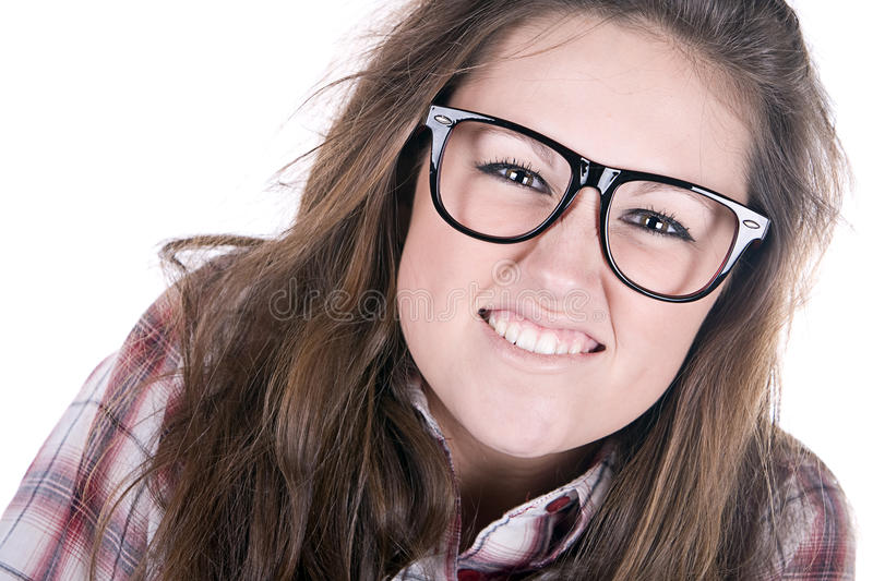 Shot Of An Attractive Geek On White Stock Images