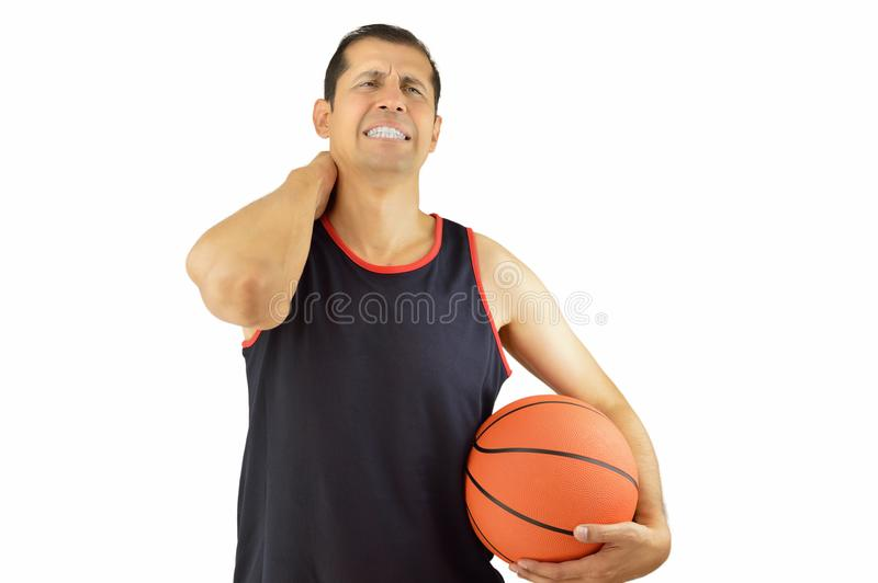 Player basketball with injured neck stock photos