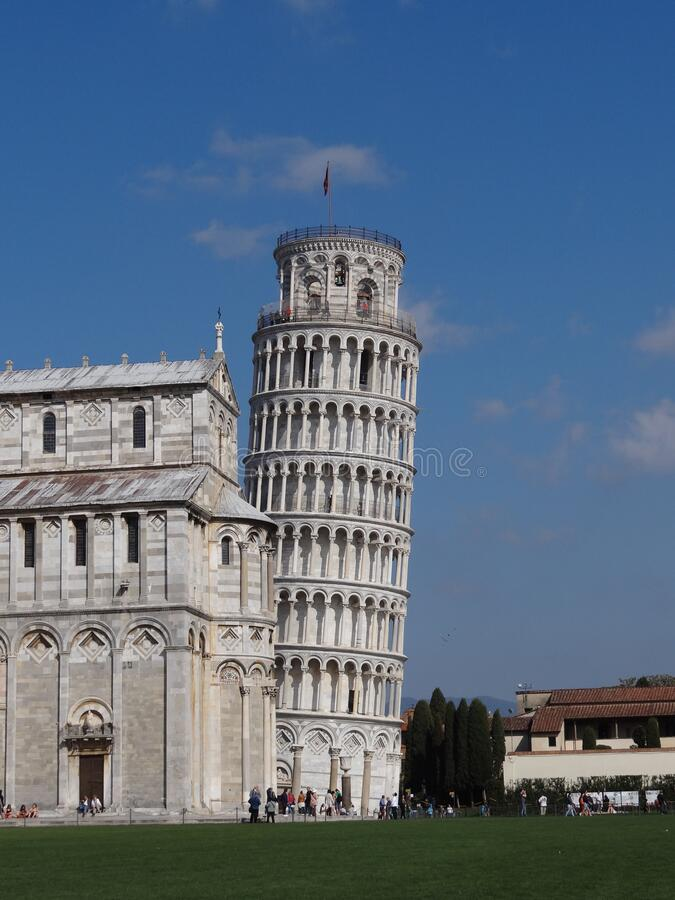 Shot of Campo dei Miracoli in Pisa with Leaning Tower and Duomo. Shot of beautiful  Campo dei Miracoli in Pisa with Leaning Tower and Duomo royalty free stock image