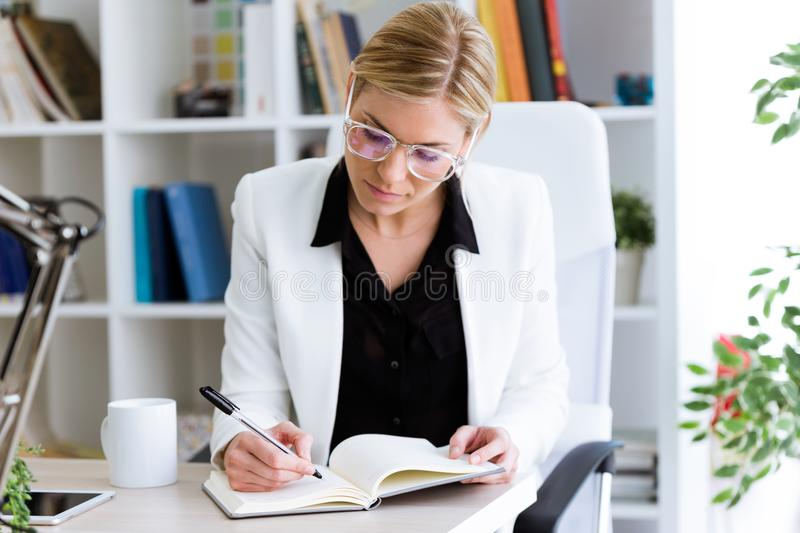 Beautiful young businesswoman writing on her diary in the office. royalty free stock photography