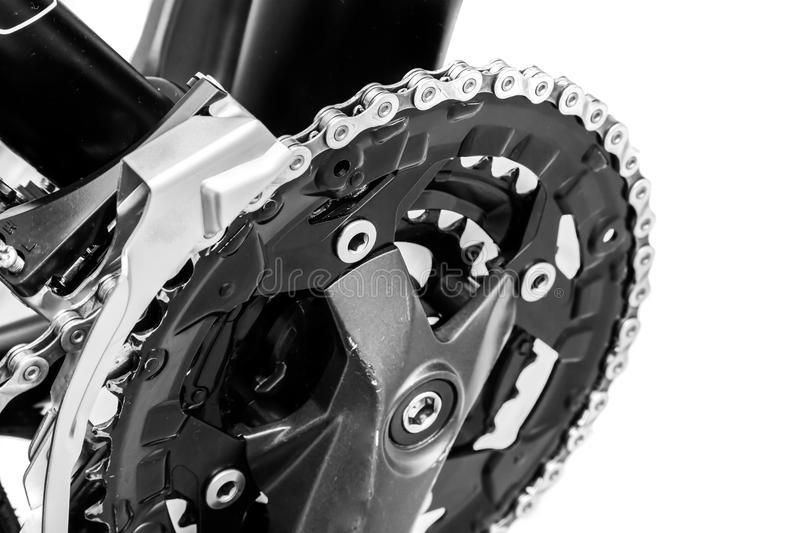 Bicycle drivetrain system. Shot of Bicycle cassette close up royalty free stock photo