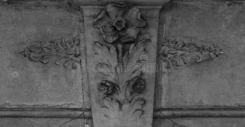 Singular flower standing alone. Shot in black and white detail on the facade of this historic building representing some character, animal or flower. Set in royalty free stock image