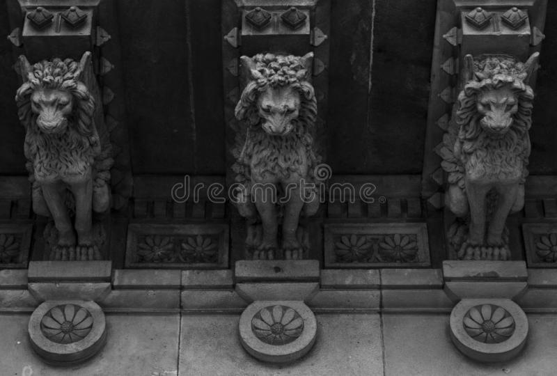Three lions on a row. Shot in black and white detail on the facade of this historic building representing some character, animal or flower. Set in Eixample stock photo