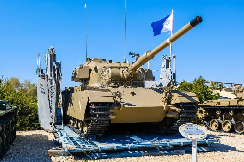 Shot cal israeli tank on vehicle landing craft ramp. Israeli Armored Corps Museum at Latrun stock images