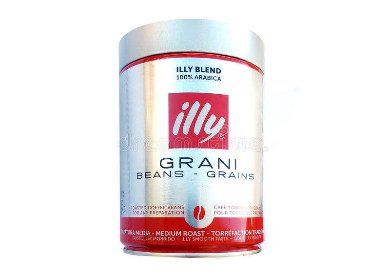 A shot of a can of Illy Beans Coffee stock photography