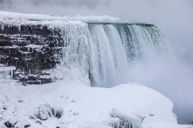 Niagara Falls Covered in Ice stock photography