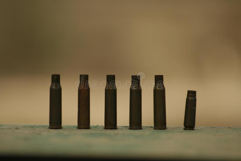 Shot cartridges from a carbine at a sighting range. Shot cartridges from a carbine stock photos