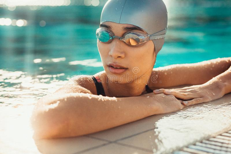 Female swimmer relaxing at the edge of a swimming pool royalty free stock image