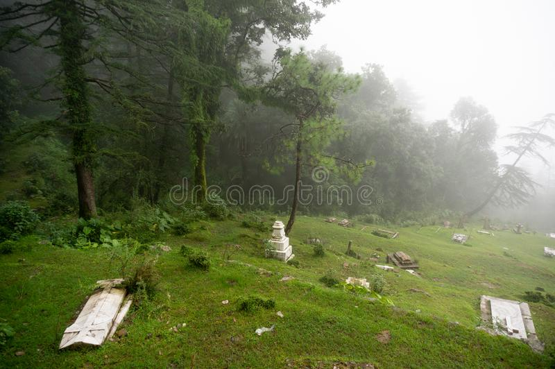Shot of a foggy graveyard on a hill slope with trees in the background fading into the distance. royalty free stock photography