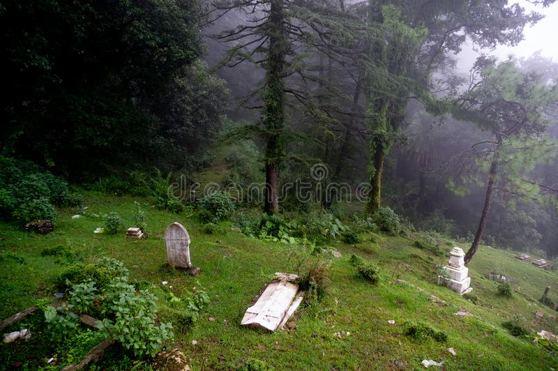 Shot of a foggy graveyard on a hill slope with trees in the background fading into the distance. royalty free stock image