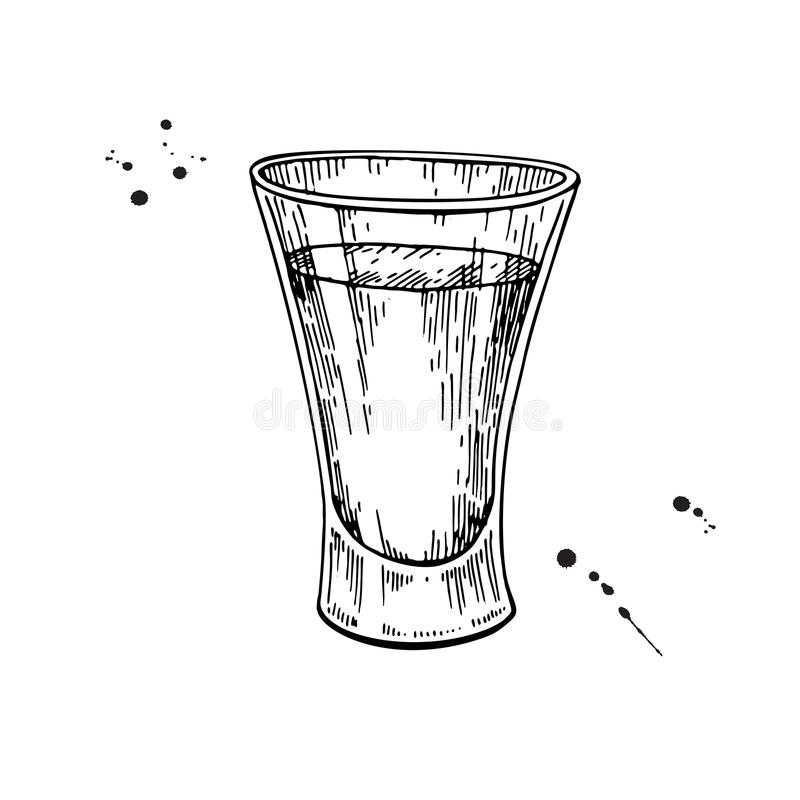 Shot glass drawing. Tequila, vodka, cocktail, alcohol drink vect vector illustration