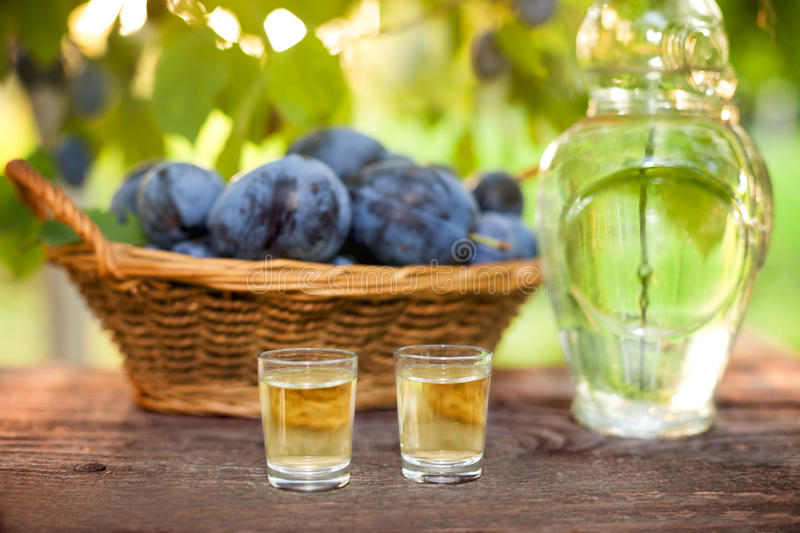 Shot glass with rakia. On wooden table with plum basket stock photography