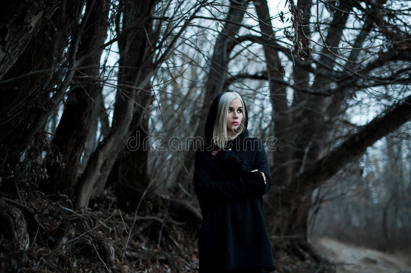Shot of a gothic woman in a forest. Fashion royalty free stock images