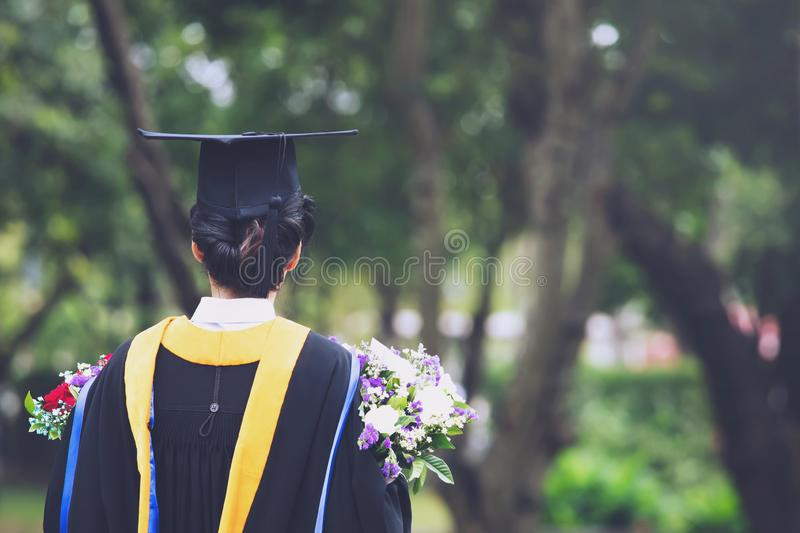 Shot of graduation hats during commencement success graduates of the university. Concept education congratulation Student young the graduates in University stock image