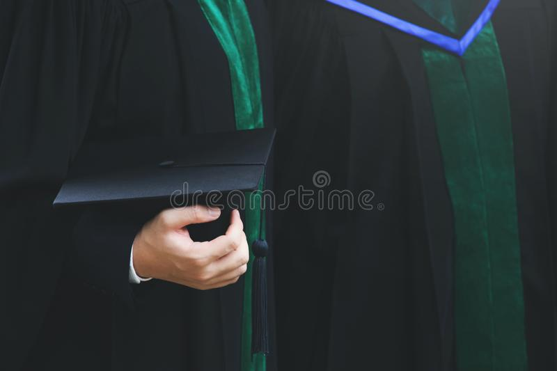 Shot of graduation hats during commencement success graduates of the university. Concept education congratulation Student young the graduates in University stock images