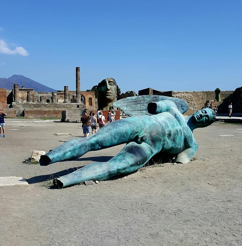 Pompeii Statues. A shot of the great statues in the excavations from the Forum in Pompeii royalty free stock images
