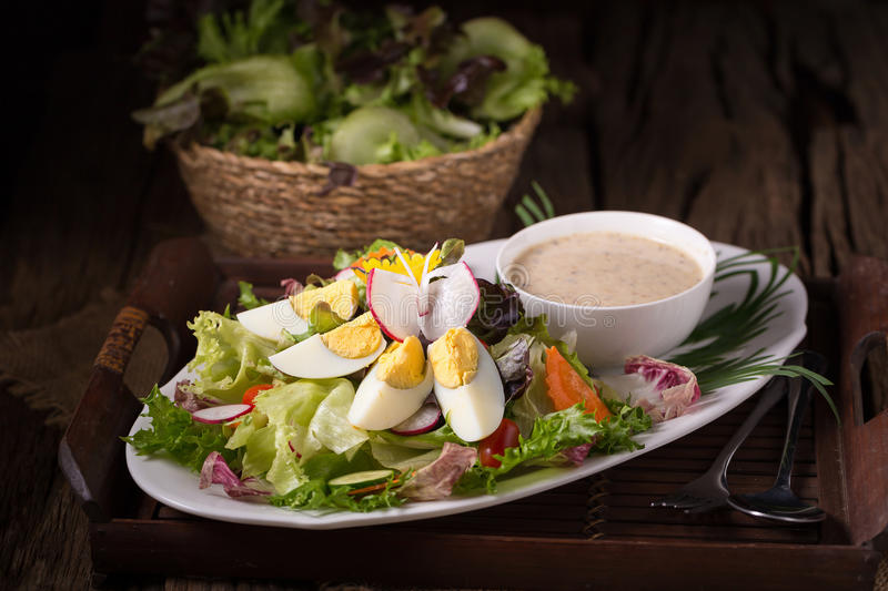 Shot of green salad with radish and hard-boiled egg on white plate with fork and napkin.  royalty free stock photo