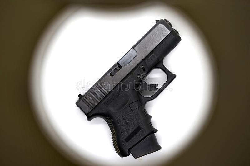 Shot gun black color,use 9 mm ammunition with magazine grip accessory stock photo