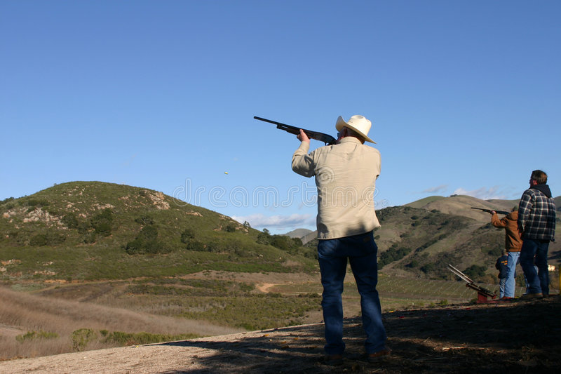 Shot gun shooting royalty free stock photo