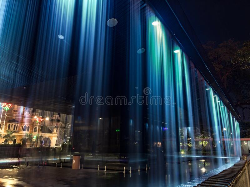 Waterfall. While I was walking on Dataran Merdeka Kuala Lumpur I had captured this picture using the Iphone 6 Plus with low light mode stock image
