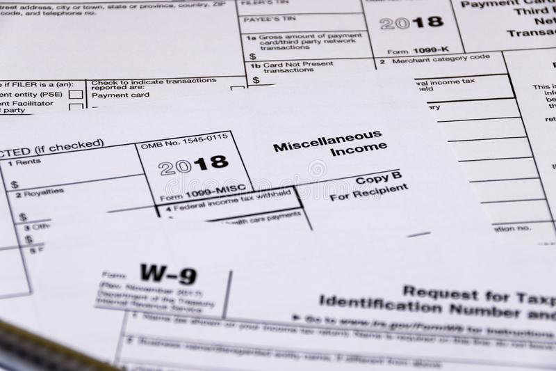 Shot Of Irs Tax Forms 1099 M 1099 K And W 9 Editorial Stock Photo