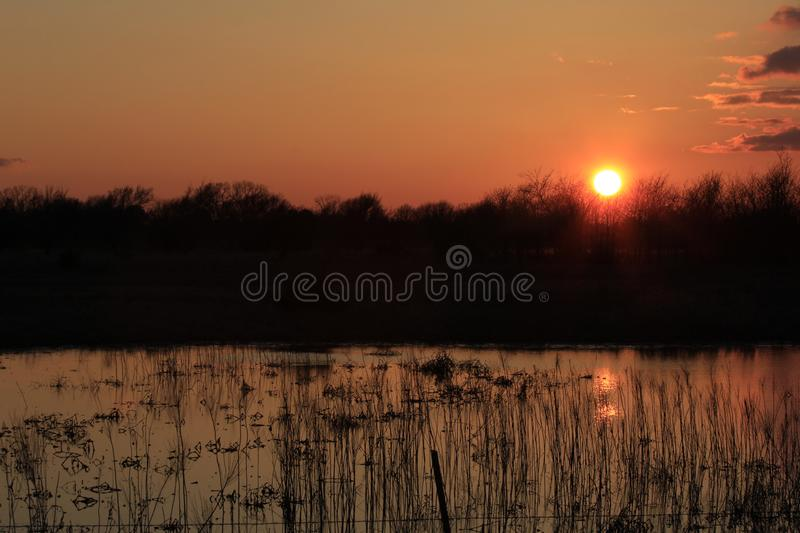 Kansas Sunset with a water reflection on a country pond. royalty free stock images