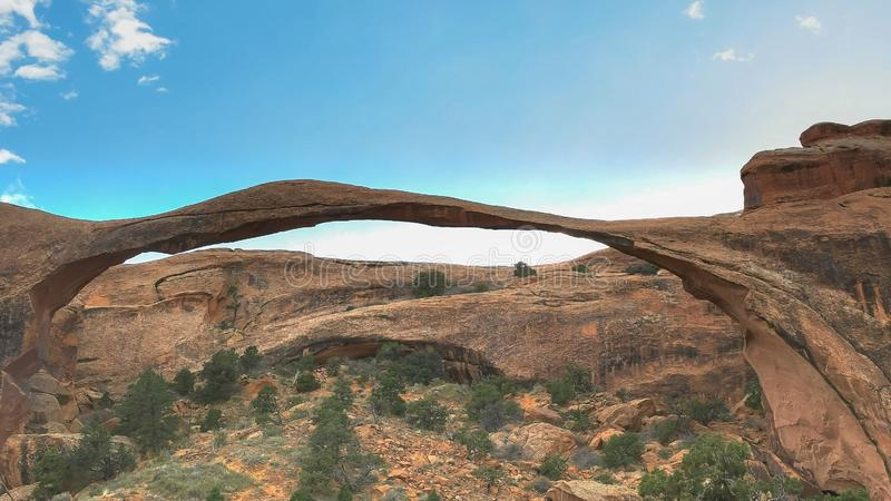 Shot of landscape arch in arches national park, utah royalty free stock photo