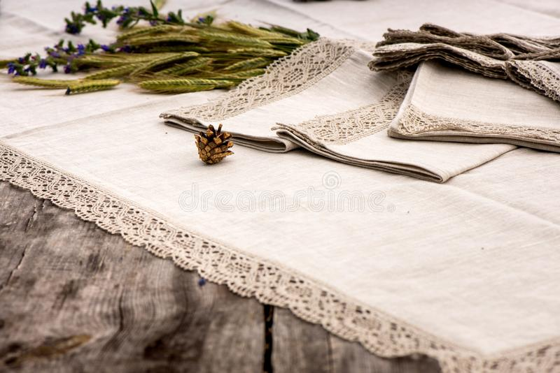 Cool Download Shot Of Linen Towels Tablecloths Napkins With Lace Trim Stock  Image Image With Tablecloths And Napkins