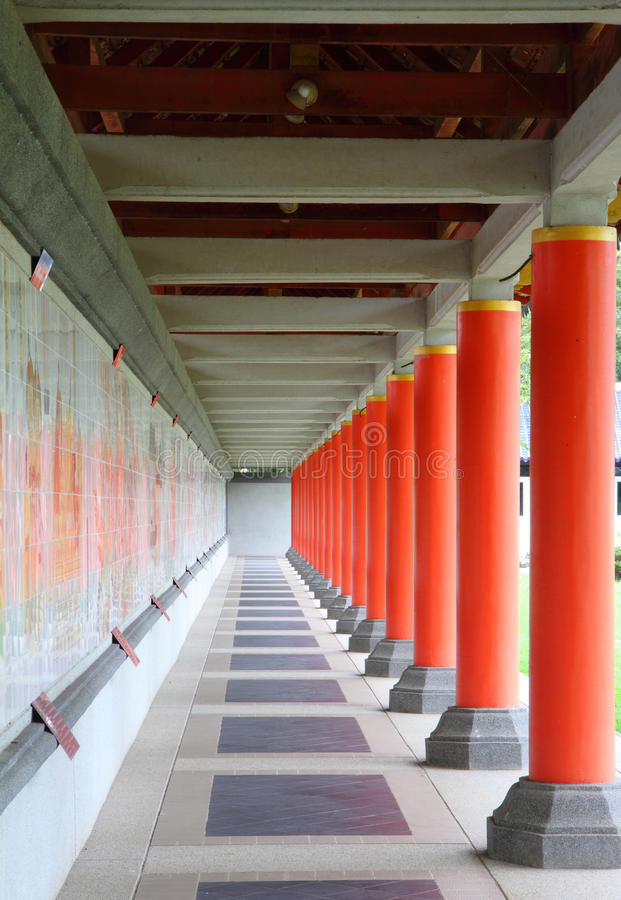 Shot of long corridor in chinese temple. Vertical shot of long corridor in chinese temple stock photography
