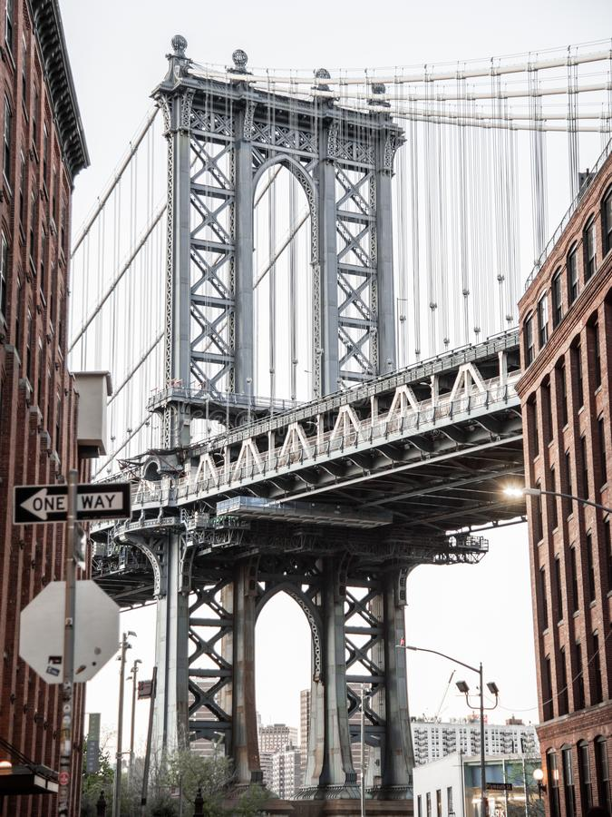 Shot of the Manhattan Bridge. From the DUMBO Brooklyn district. New York City, USA royalty free stock photos