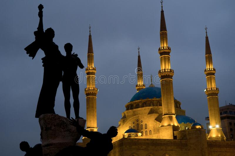 Shot of the  Martyrs' monument in front of the Mohammad Al-Amin Mosque, Beirut, Lebanon. A shot of the  Martyrs` monument in front of the Mohammad Al-Amin Mosque stock photography