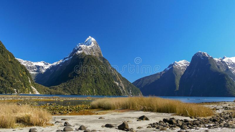Shot of mitre peak and milford sound in nz. Shot of mitre peak and milford sound in new zealand stock images